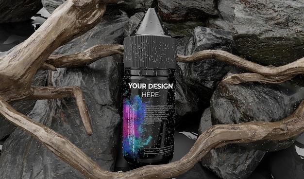 Maquete de conta-gotas de garrafa de líquido vape na natureza