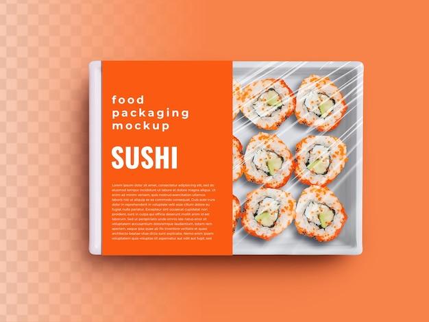 Maquete de contêiner de bandeja de caixa de comida com rolos de sushi em embalagem de plástico e rótulo de capa de papel
