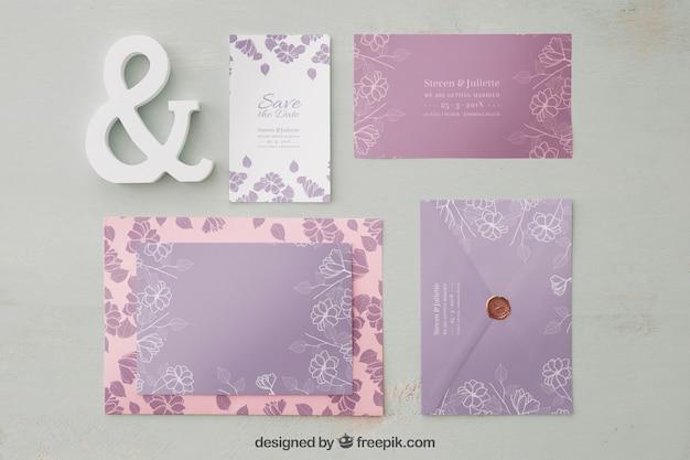Maquete de convite de casamento elegante