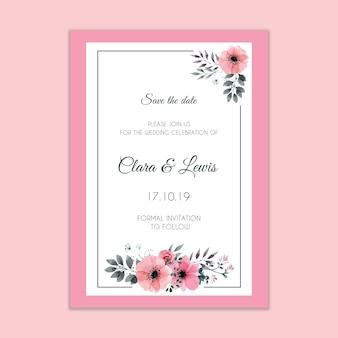 Maquete de convite de casamento moderno