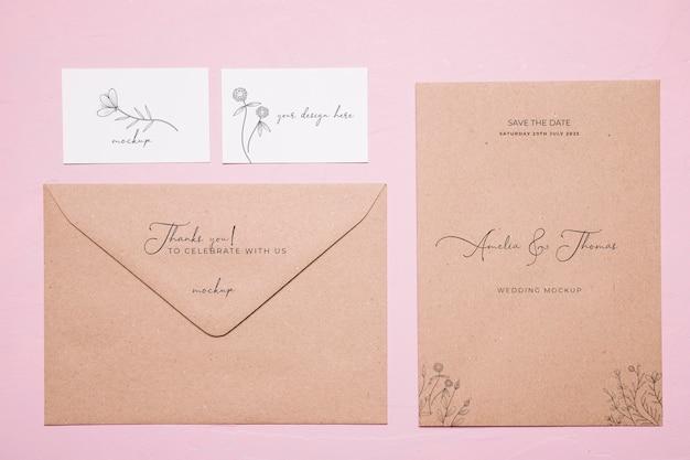 Maquete de convite de casamento vista superior