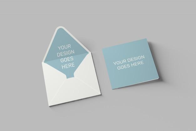 Maquete de convite e cartão quadrado