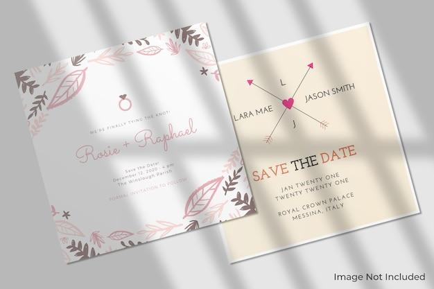 Maquete de convite quadrada elegante com sombra