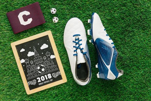 Maquete de copa do mundo de futebol com ardósia