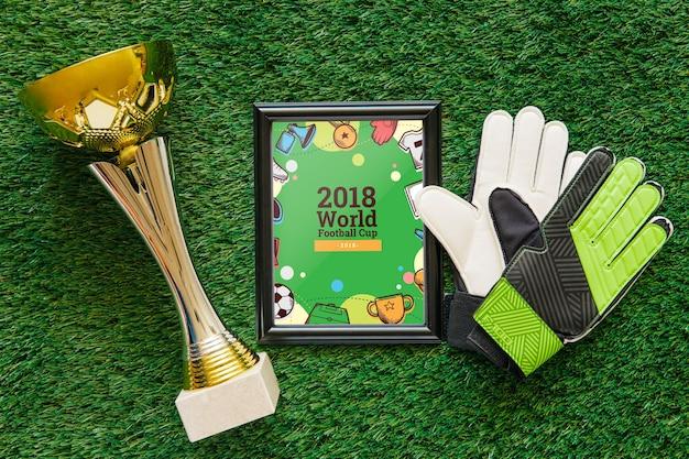 Maquete de copa do mundo de futebol com frame
