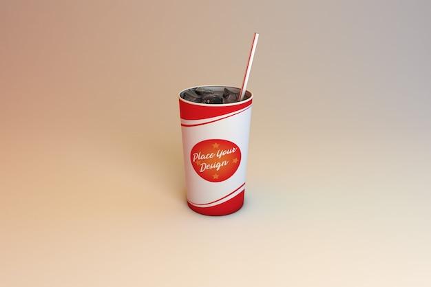 Maquete de copo bebendo papel