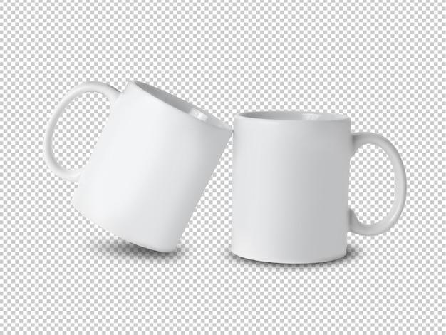 Maquete de copo caneca branca transparente.