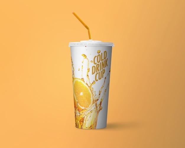 Maquete de copo de bebida fria