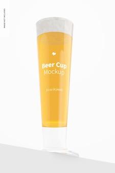 Maquete de copo de cerveja de vidro de 14 onças, vista frontal inferior
