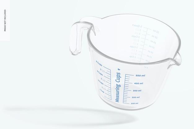 Maquete de copo de medição de vidro, flutuante