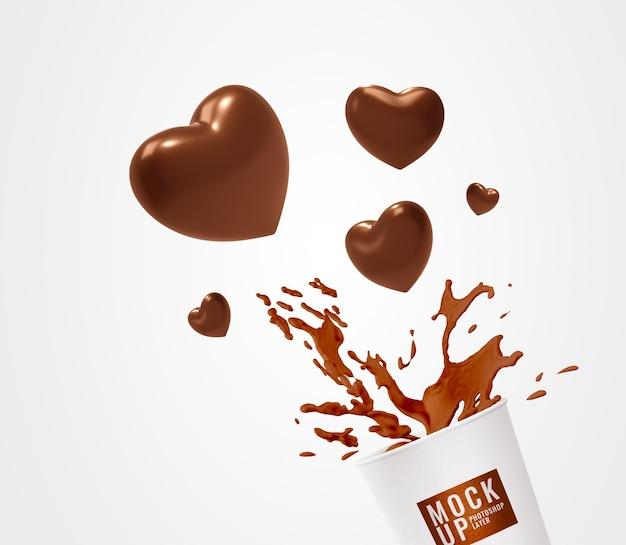 Maquete de copo de publicidade com espirro de coração
