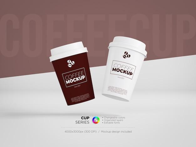 Maquete de copos de café descartáveis
