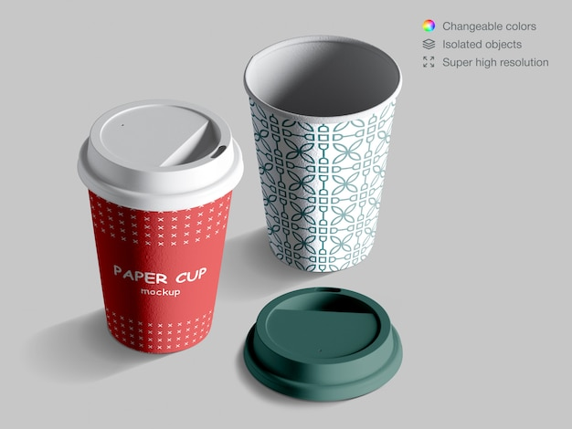 Maquete de copos de café isométrica realista com tampa