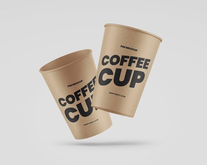 Maquete de copos de café kraft