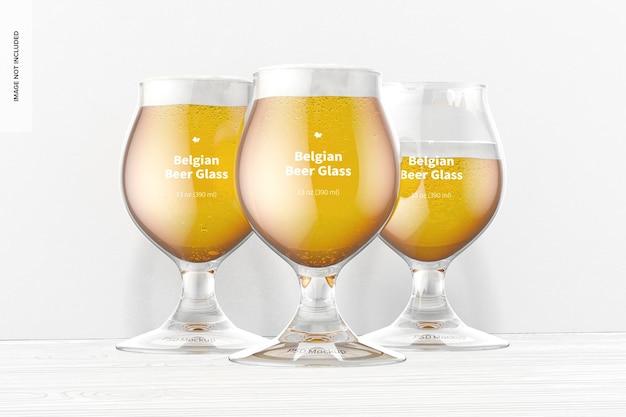 Maquete de copos de cerveja belga de 13 onças, vista frontal