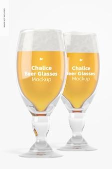 Maquete de copos de cerveja de cálice, vista frontal
