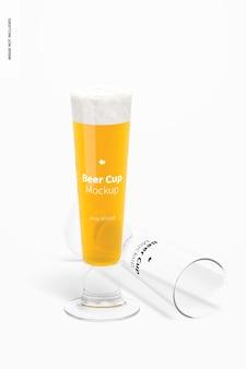 Maquete de copos de cerveja de vidro de 14 onças, derrubado