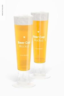 Maquete de copos de cerveja de vidro de 14 onças