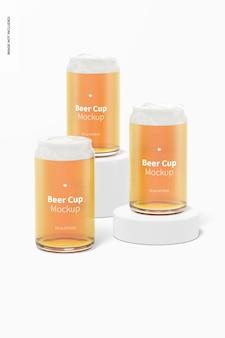 Maquete de copos de cerveja de vidro de 16 onças, vista frontal