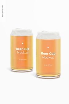 Maquete de copos de cerveja de vidro de 16 onças