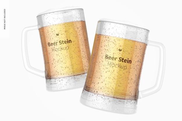 Maquete de copos de cerveja stein, flutuante