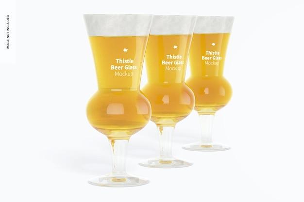 Maquete de copos de cerveja thistle