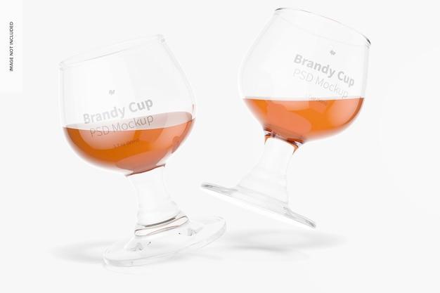 Maquete de copos de conhaque de vidro de 1,7 oz