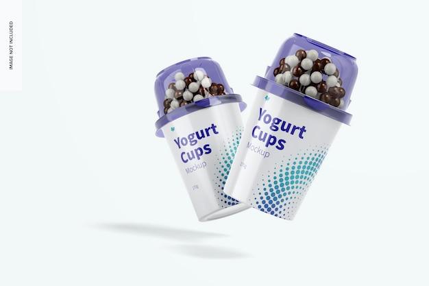 Maquete de copos de iogurte, caindo