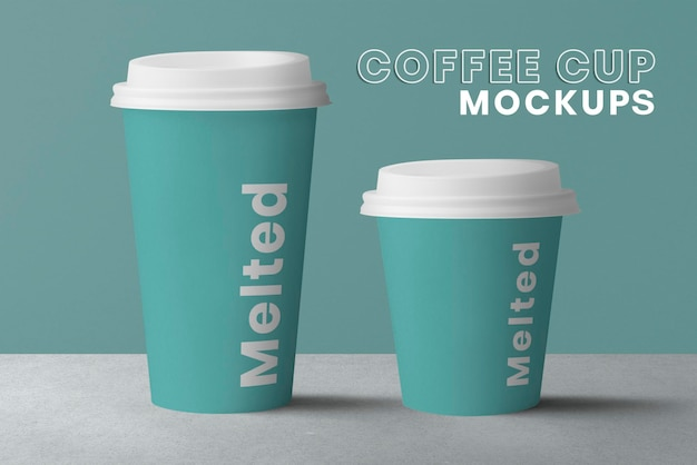 Maquete de copos de papel de café