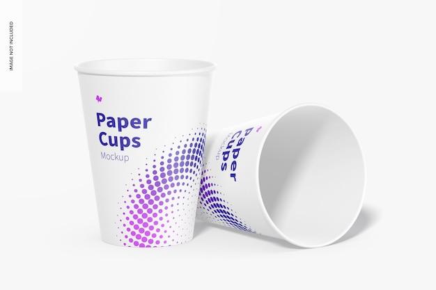 Maquete de copos de papel, derrubado