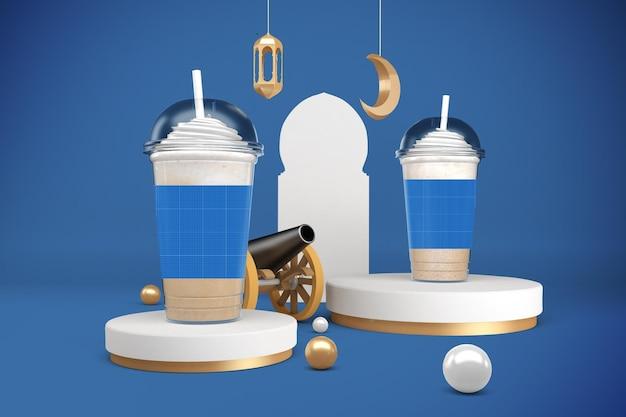 Maquete de copos de plástico para ramadã