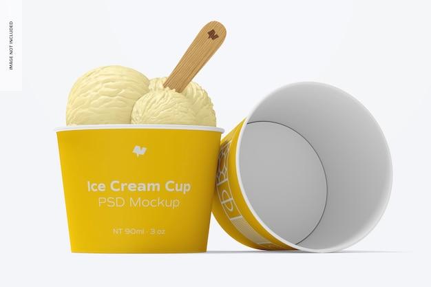 Maquete de copos de sorvete de papel de 3 onças, perspectiva
