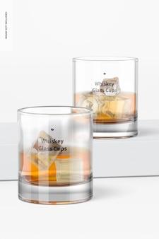Maquete de copos de vidro de uísque de 11 onças, perspectiva