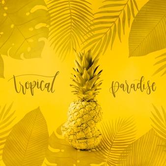 Maquete de copyspace amarelo para com abacaxi