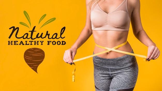 Maquete de copyspace com conceito de comida saudável