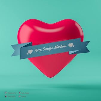 Maquete de coração de dia dos namorados isolada