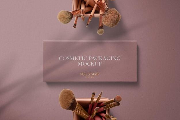 Maquete de cosméticos para embalagem de caixa quadrada