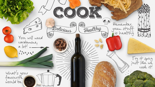 Maquete de cozinha e comida