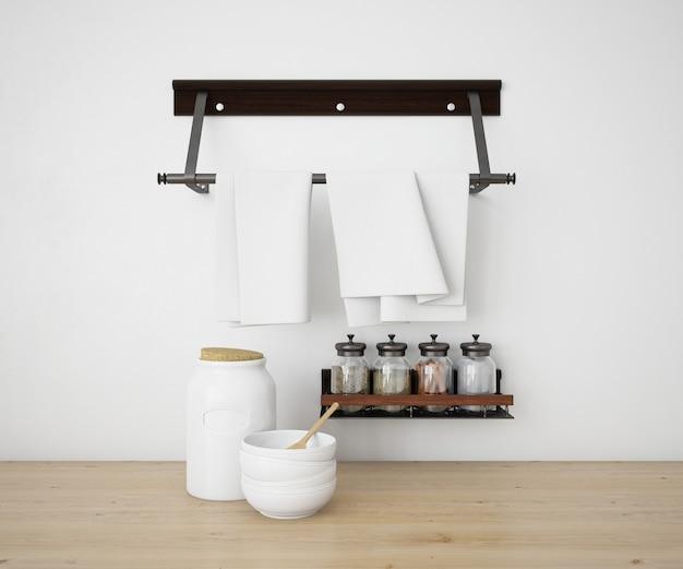Maquete de cozinha realista utensílios