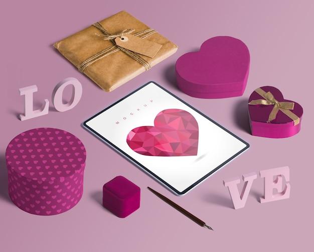 Maquete de criador de cena isométrica editável com o conceito de dia dos namorados