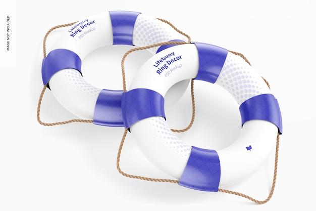 Maquete de decoração de anéis de bóia salva-vidas, vista superior