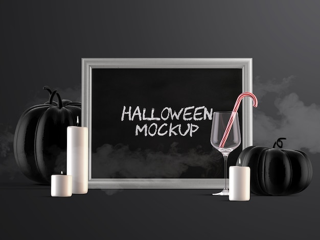 Maquete de decoração de evento de halloween com moldura horizontal, abóboras, doces e velas