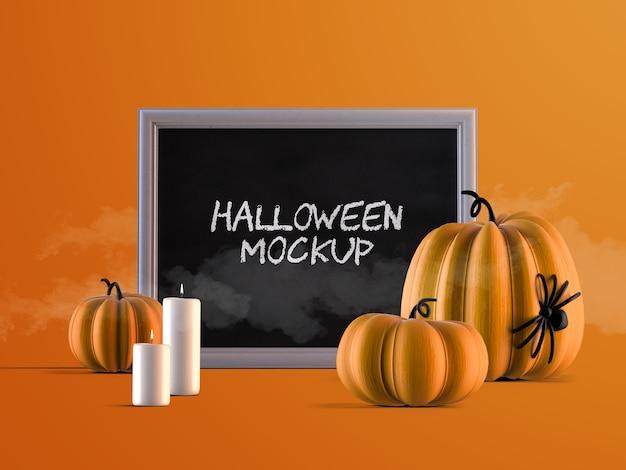 Maquete de decoração de evento de halloween com moldura horizontal, abóboras e velas