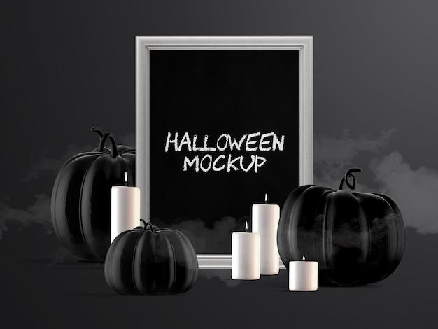 Maquete de decoração de evento de halloween com moldura vertical, abóboras e velas