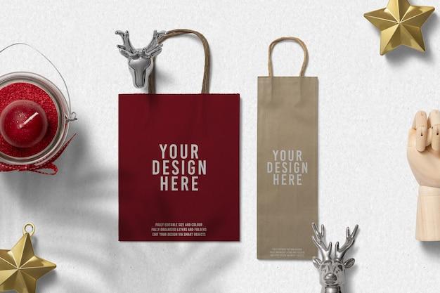 Maquete de decoração de natal de sacola de papel de compras