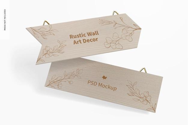 Maquete de decoração de parede rústica, queda