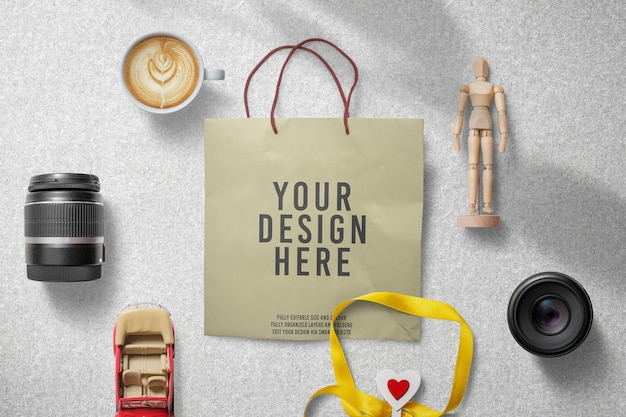 Maquete de decoração de sacola de papel de compras