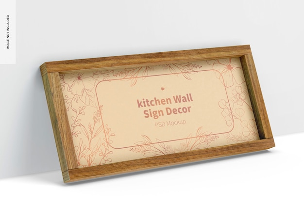 Maquete de decoração de sinal de parede de cozinha, inclinado