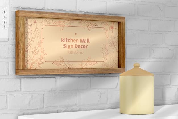 Maquete de decoração de sinal de parede de cozinha, vista esquerda