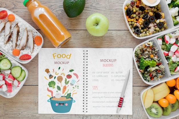 Maquete de deliciosos alimentos orgânicos